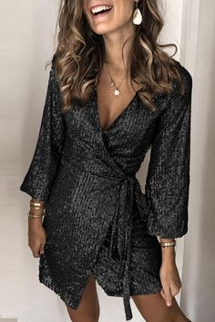 Details: Material:Polyester Style:Sexy Mini Dress Sleeve Length:Long Sleeve Neckline:V-Neck Length:Mini Pattern Type:Sequin Season:All Color:Gold Size:S,M,L,XL Source by Dresses Elegant Dresses, Sexy Dresses, Evening Dresses, Casual Dresses, Short Dresses, Fashion Dresses, Dresses For Work, Wrap Dresses, Summer Dresses