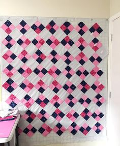 Love this easy to make quilt !! Pattern is Four Patch on Point by Amy Smart #patchwork #quilt #costurar #tecidos #pinkandblue