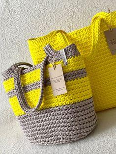 Knitting Bags, Knitting Ideas, Eco Friendly Bags, Crochet Tote, Gray Yellow, Boho Bags, Jute Bags, Tote Purse, Leather Handbags