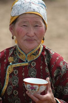 Tea in Mongolia, near the ruins of the ancient capital of the Mongol Empire, Karakorum.