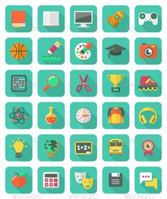 my #vector Flat Education and Leisure Icons Set: Reloaded ;)