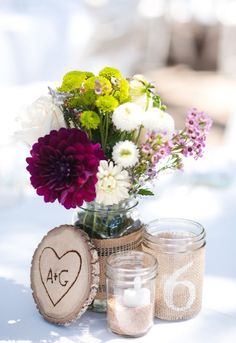 Rustic center pieces! Love