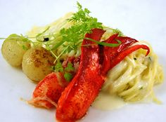 Monday, December 19, 2011  Butter Poached Lobster, Angel Hair Pasta, White American Cheese Sauce, Caramelized Onion