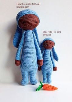 rita the rabbit and mini rita different sizes-- This is a free tutorial on small Rita. So cute!!! Great gift for kids!