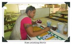 This is Rima, she comes from South Africa and is so thankful for her job working for Julian. She is seen here painting a table runner, which we sell on our website! African Artists, Job Work, Artist At Work, Gift Baskets, Handicraft, A Table, South Africa, Unique Gifts, Artisan
