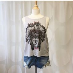 Wolf Graphic Tank ✌️ Wolf with feathered headdress graphic tank, deep armhole, boho chic, size S, heather gray, made in USA, 60% cotton 40% polyester. So obsessed with this one! April Spirit Tops Tank Tops