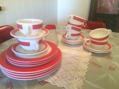 A personal favorite from my Etsy shop https://www.etsy.com/listing/449092726/22-piece-cups-and-saucers-pyrex-red