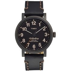 Timex 'Waterbury' Leather Strap Watch, 40mm ($95) ❤ liked on Polyvore featuring jewelry, watches, black, dial watches, leather strap watches, timex, rugged watches and timex wrist watch