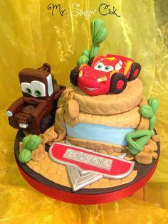 per una festa di compleanno a tema cars la torta con saetta e cricchetto realizzata da Mr Sugar Ciok https://www.facebook.com/pages/Mr-Sugar-Ciok/423141951110325?sk=timeline