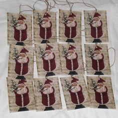 Set of 12 Primitive Folk Art Vintage Santa Claus by ChooseMoose