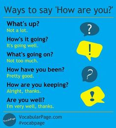"""Ways to say """"How are you?"""""""