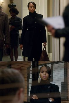 """Giorgio Armani"" Navy cashmere coat worn by Olivia Pope (Kerry Washington) on Scandal, season 4."