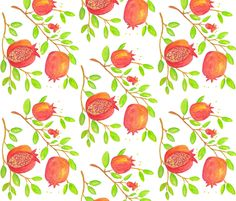 Pomegranate Branches (watercolor) fabric by pattyryboltdesigns on Spoonflower - custom fabric