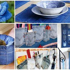 Reciclar e Decorar - Blog de Decoração e Reciclagem Jean Crafts, Denim Crafts, Blue Jean Purses, Paper Mache Bowls, Toilet Paper Crafts, Everyday Hacks, Fabric Bowls, Craft Day, School Decorations