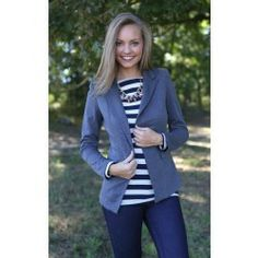 Order women's tops and choose from a wide variety of cute colors and styles. Red Dress Boutique is your one-stop shop for the hottest shirts, sweaters, and more! Work Fashion, Blazer, Gray, School, My Style, Sweaters, How To Wear, Jackets, Shirts