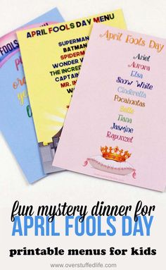 Printable menus for April Fools Day mystery dinner