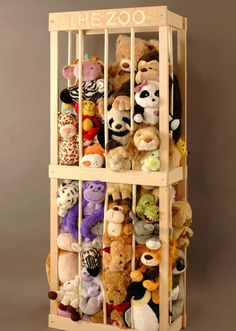 The Zoo Stuffed Animal Storage~probably should buy one of these for all my stuffed animals. :D