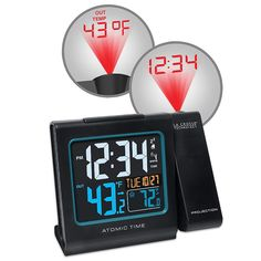 La Crosse Technology Projection Alarm Clock with Atomic Time & Indoor / Outdoor Temperature, Black