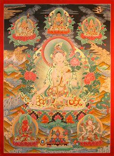 White Tara on Dream-Tangkas - filigran Thanka, beautiful art. Thangkas and Mandalas from Snow Lion. http://www.thangkas.com/dream-thangkas/Weisse-Tara-YH12.php #Thangkas #Tara