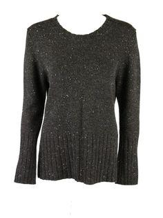 Kokun womens brown multi nub speck crewneck pullover sweater L