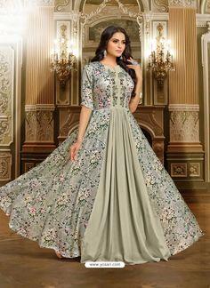 Silver Satin Silk Embroidered Designer Gown