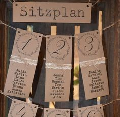 Wunderschöner Tischplan für Eure Hochzeit im Vintage-Style. Ein tolles Dekoobjekt, was Euren Gästen auf sehr schöne Art den Platz weist! Hier im Angebot: 1 Weinkiste Bäckergarn Schild aus...