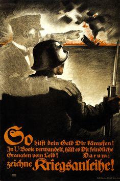 World War I German propaganda poster urging the sale of war bonds in the Plakatstil style, pioneered by Lucian Bernhard.