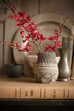 knitted planter using recycled sweater