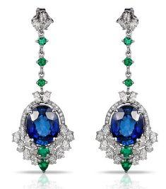 EFFY Gemma sapphire emerald and diamond drop earrings