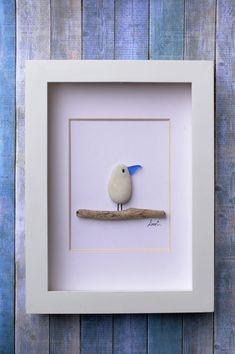 Pebble art picture, stone art, pebbles, seagull, seaglass, handmade, birthday, art, custom art, driftwood by MoonTidePebbleArt on Etsy