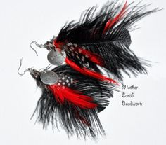 Karma Feather Earrings Red and Black by MotherEarthBeadwork, $20.00