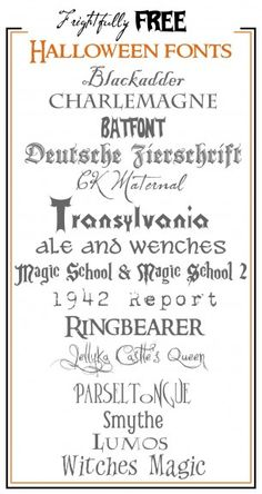 Frightfully Free Halloween Fonts! Links to each font and also instructions on how download fonts!