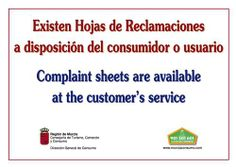 "Hoja de reclamaciones An ""hoja de reclamaciones"" is an official Spanish ""complaint form"" and the first step in lodging an official complaint with the governments consumer information office. Every business must have them and present you with one on demand. If you ask for one and don't get one, inform the proprietor that you're going to the local po... Spanish Vocabulary, First Step, Get One, The Locals, Business, Holiday, Vacations, Store, Holidays Events"
