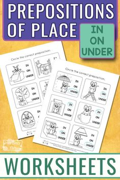 Free Printable Learning Prepositions Worksheets for Kids. A fun way to learn prepositions of place. #freeprintablesforkids #printableworksheetsforkids #freeworksheetsforkids