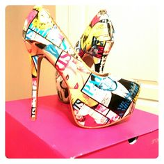 Fashion magazine heels 6.5 inch outside heels, practically new. Features current celebs. Shoe Dazzle Shoes Heels
