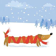 Pack Of  Mini Sausage Dog Stroke Association Charity Christmas Cards Charity Christmas Cards Christmas