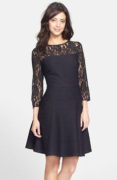 Taylor Dresses Lace & Textured Knit Fit & Flare Dress (Regular & Petite) available at #Nordstrom