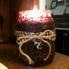 Primitive Grunge Candle I made. Got the instructions from Eyeballs by Day Crafts by Night!  Thank you for the idea! - Primitive Country Crafts
