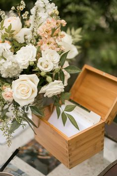 recipe box as guestbook keeper // photo by Mustard Seed Photography // View more: http://ruffledblog.com/english-garden-inspired-wedding/