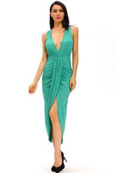 Robes Longues Vert Robe Drapee Avant Slit Pas Cher www.modebuy.com @Modebuy #Modebuy #Vert #me #sexy #dress