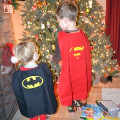 Reversible capes...easy beginner sewing project and the boys have had lots of fun with them since Christmas!