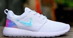Custom White/opalescent Nike Roshe Run by KKsCreativeKickz on Etsy