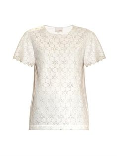 Lace-panel seersucker top | Band Of Outsiders | MATCHESFASHION...