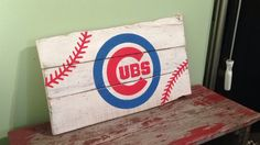 Pallet Chicago Cubs Sign |  Handpainted Pallet Sign | Chicago Sports | MLB | Wood Sign | Rustic Home Decor by R2KPallet on Etsy https://www.etsy.com/listing/268184781/pallet-chicago-cubs-sign-handpainted