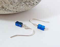 Blue Hematite Earrings Gemstone Earrings by BeauBellaJewellery