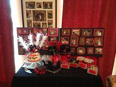 Happy Fabulous 40 Birthday dessert table with cake