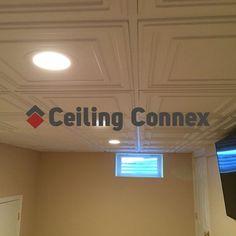 CeilingConnex PVC Mission Ceiling  Tiles with our Direct Mount Ceiling Grid System