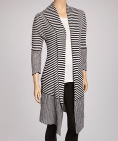 Another great find on #zulily! Navy & White Stripe Open Cardigan by Sweet Sinammon #zulilyfinds