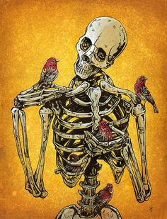 Birds Of A Feather by David Lozeau Skeleton & Birds Canvas Art Print