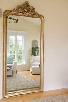 Restoration Hardware Mirror, Gold Floor Mirror, Exterior Design, Interior And Exterior, Oversized Mirror, Sweet Home, Shabby Chic, New Homes, Stairs